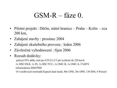 GSM-R – fáze I. - FEL