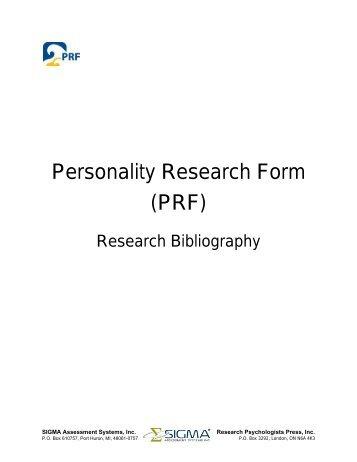 Jackson Personality Inventory – Revised (JPI-R) - Sigma ...