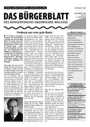 DAS BÜRGERBLATT - Bürgerverein Oberwiehre-Waldsee