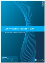 Streets and Localities Guide 2011 (PDF) - NSW Electoral Commission