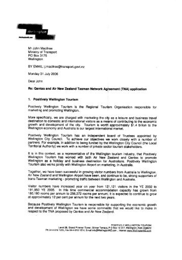 31 July 06 letter from Positively Wellington (PDF - Ministry of Transport