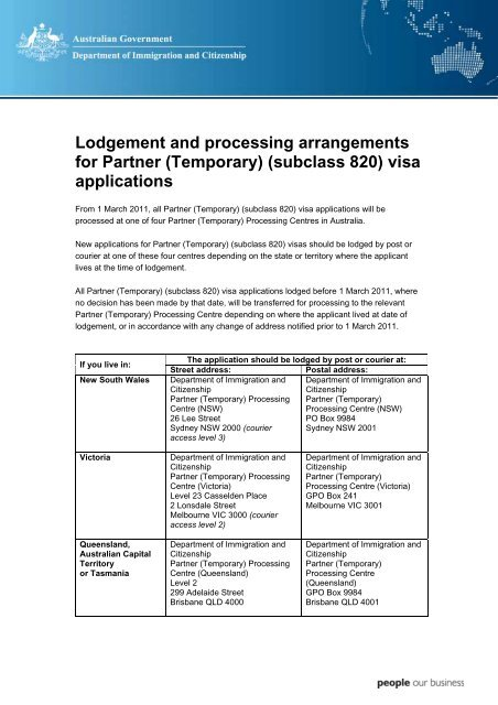 Lodgement and processing arrangements for Partner (Temporary