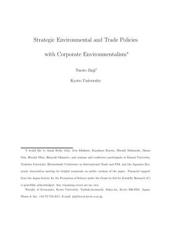 Strategic Environmental and Trade Policies with Corporate ...