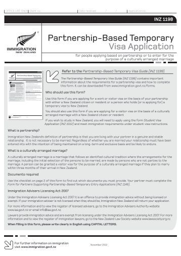 Partnership-Based Temporary Visa Application - Immigration New ...