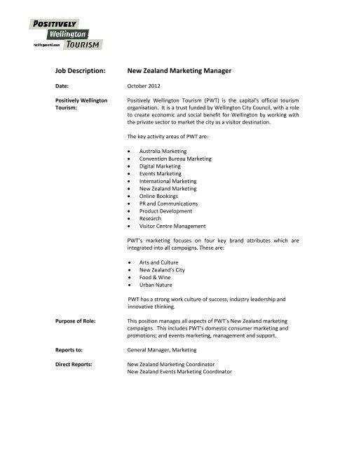 Job Description: New Zealand Marketing Manager - Wellington