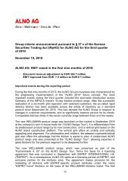 Group interim announcement pursuant to § 37 x of the ... - Alno