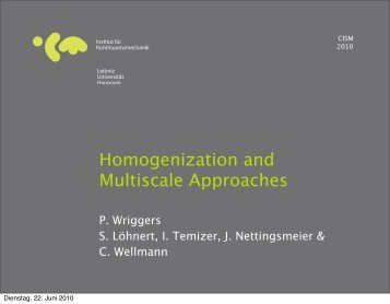Homogenization and Multiscale Approaches - CISM