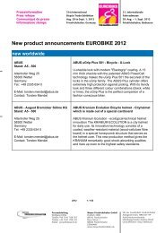 New product announcements EUROBIKE 2012