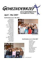 April - Mai 2007 - Kirchengemeinde Helpup