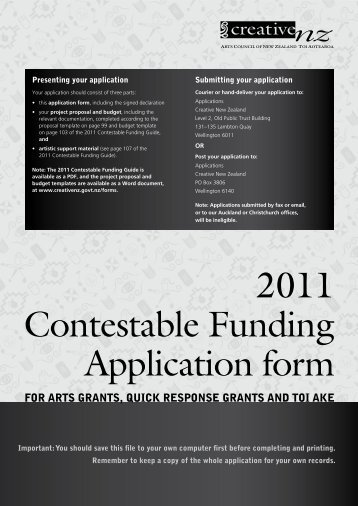2011 Contestable Funding Application form - Creative New Zealand