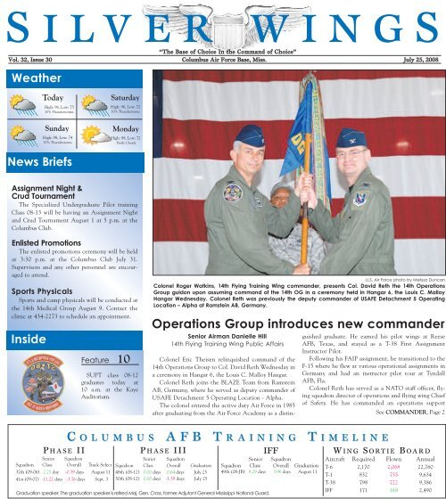 Operations Group Introduces New Commander Columbus Air Force