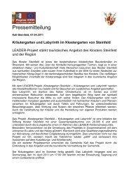 Pressemitteilung LEADER-Projekt Labyrinth und Klostergarten [PDF ...