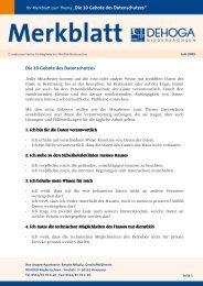 Die 10 Gebote des Datenschutzes - DEHOGA Niedersachsen