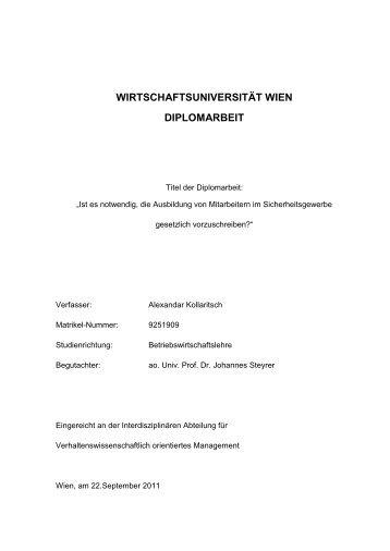 WIRTSCHAFTSUNIVERSITÄT WIEN DIPLOMARBEIT - SecureLINE