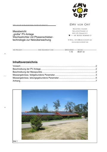 Messungen an einer PV-Anlage mit Phasenschieber ... - EMV vor Ort