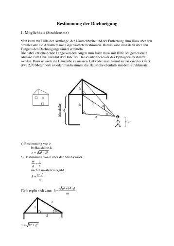 Bestimmung der Dachneigung - Amustud