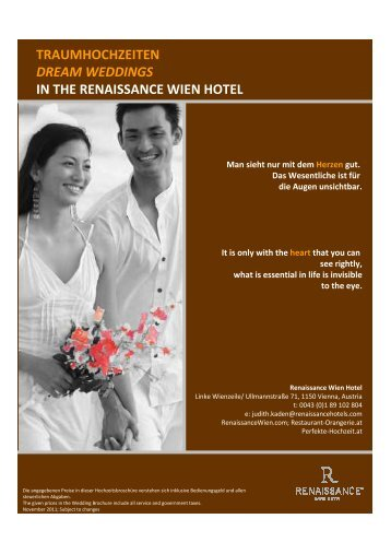 traumhochzeiten dream weddings in the renaissance wien hotel