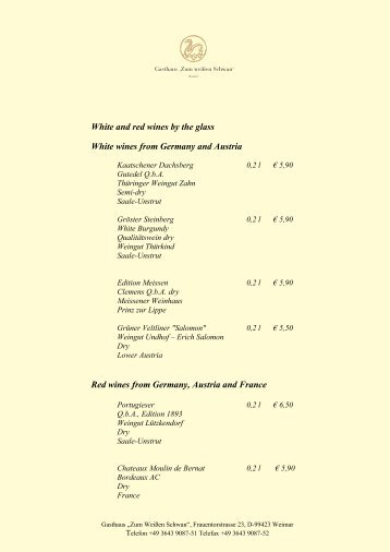 White and red wines by the glass White wines from Germany and ...