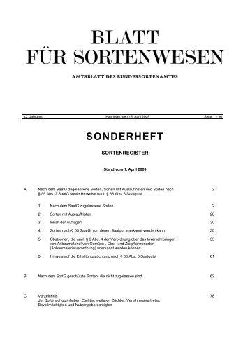 SONDERHEFT - Bundessortenamt