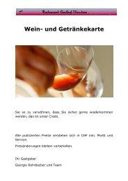 Wein- und Getränkekarte - Gasthof Hirschen