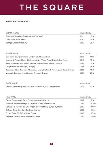 WINES BY THE GLASS CHAMPAGNE WHITE WINE ... - The Square