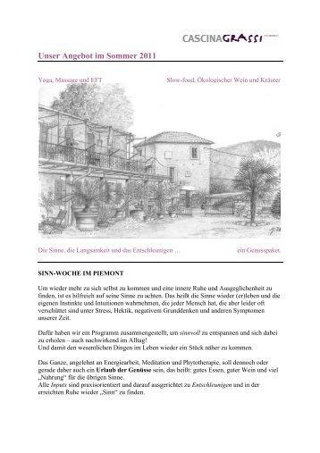 Unser Angebot im Sommer 2011 - Urlaub im Piemont