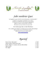 Speisekarte Studentenmuehle 2011 1 - Historisches Landhotel ...