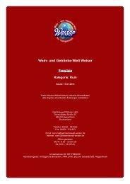 Preisliste für Kategorie: Rum - und Getränke-Welt Weiser