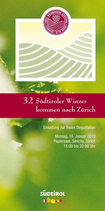 Südtiroler Winzer kommen nach Zürich - Freie Weinbauern Südtirol