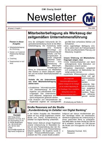 2. Newsletter März 2002 - CMI - Consulting Management Institute ...