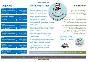 Eltern-Kind-Turnen Kinderturnen Angebote - TSV Haag
