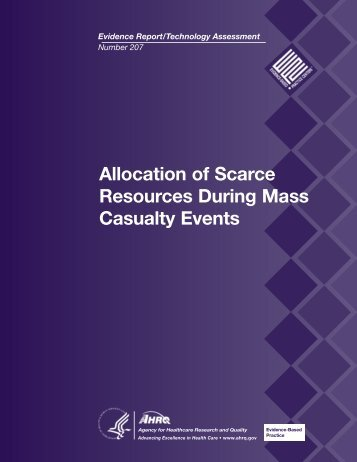 Allocation of Scarce Resources During Mass Casualty Events