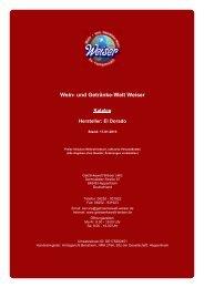 Katalog für Hersteller: El Dorado - und Getränke-Welt Weiser