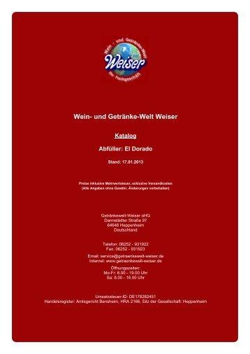 Katalog für Abfüller: El Dorado - und Getränke-Welt Weiser