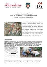Studienreise ins Piemont vom 31. Oktober - 4. November ... - barolista