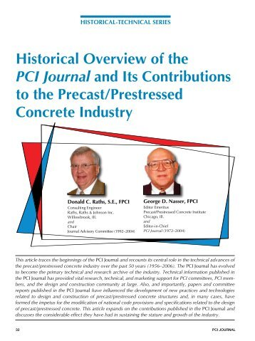 Historical Overview of the PCI Journal and Its - Precast/Prestressed ...