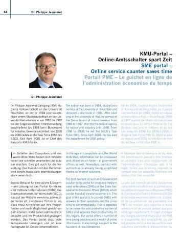KMU-Portal – Online-Amtsschalter spart Zeit SME portal ... - Ebn24
