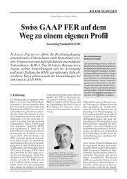 Swiss GAAP FER auf dem Weg zu einem eigenen Profil