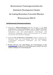 Kommentiertes Vorlesungsverzeichnis WS 2012/13 - Katholisch ...