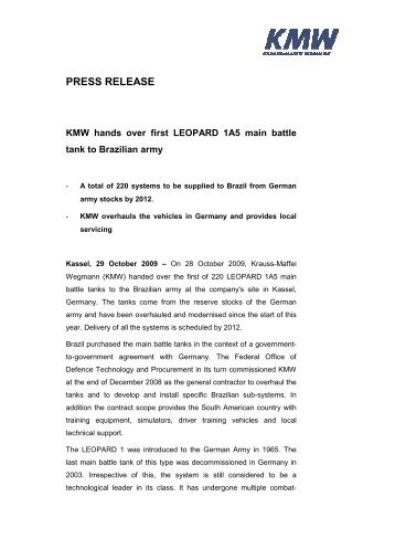 Press Release_KMW_KMW hands over first LEOPARD 1A5 battle ...