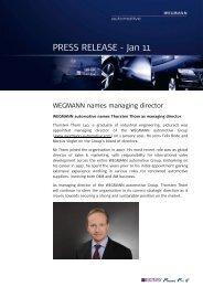 WEGMANN names managing director