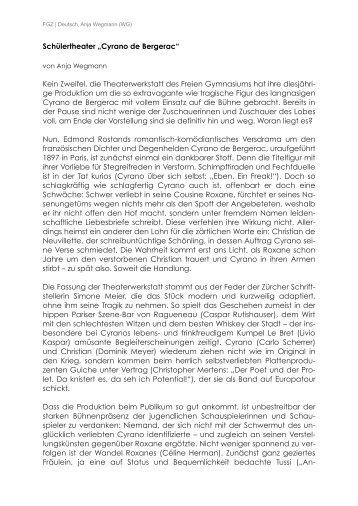 Cyrano - Theaterkritik Anja Wegmann - Theaterwerkstatt Freigymi