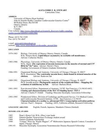 alexandre f r stewart curriculum vitae university of ottawa