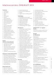 Inhaltsverzeichnis SCHULBLATT 2010 - alv
