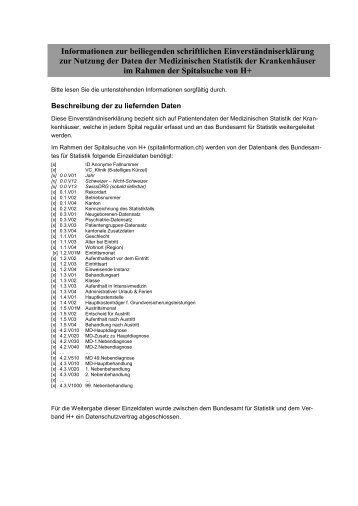 Einverständniserklärung - Spitalinformation.ch