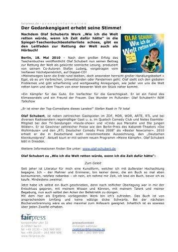 """Olaf Schubert """"Wie ich die Welt retten"""
