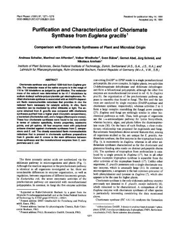 Purification and Characterization of Chorismate ... - Plant Physiology