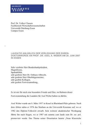 Laudatio von Herrn Prof. Dr. Clausen - WIWI