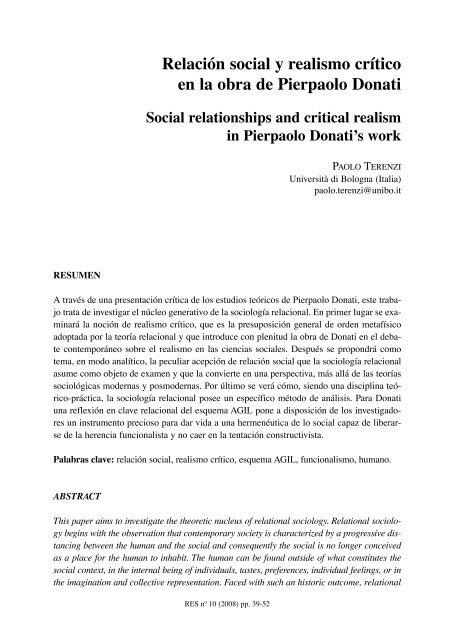 Relación Social Y Realismo Crítico En La Obra