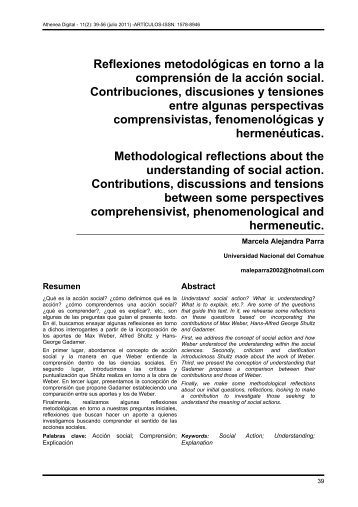 Reflexiones metodológicas en torno a la comprensión de la acción ...